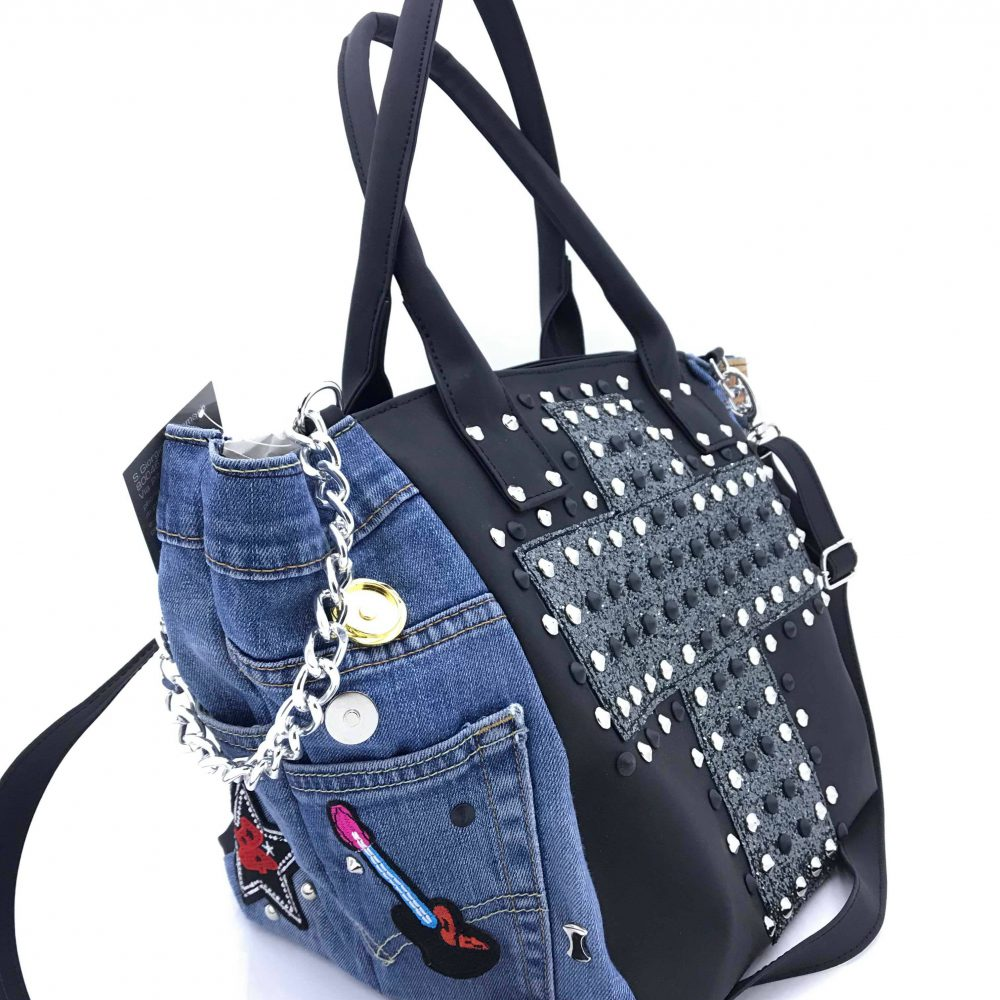 GAGLIOTTA BAG PATCH NERO/GLITTER PIOMBO