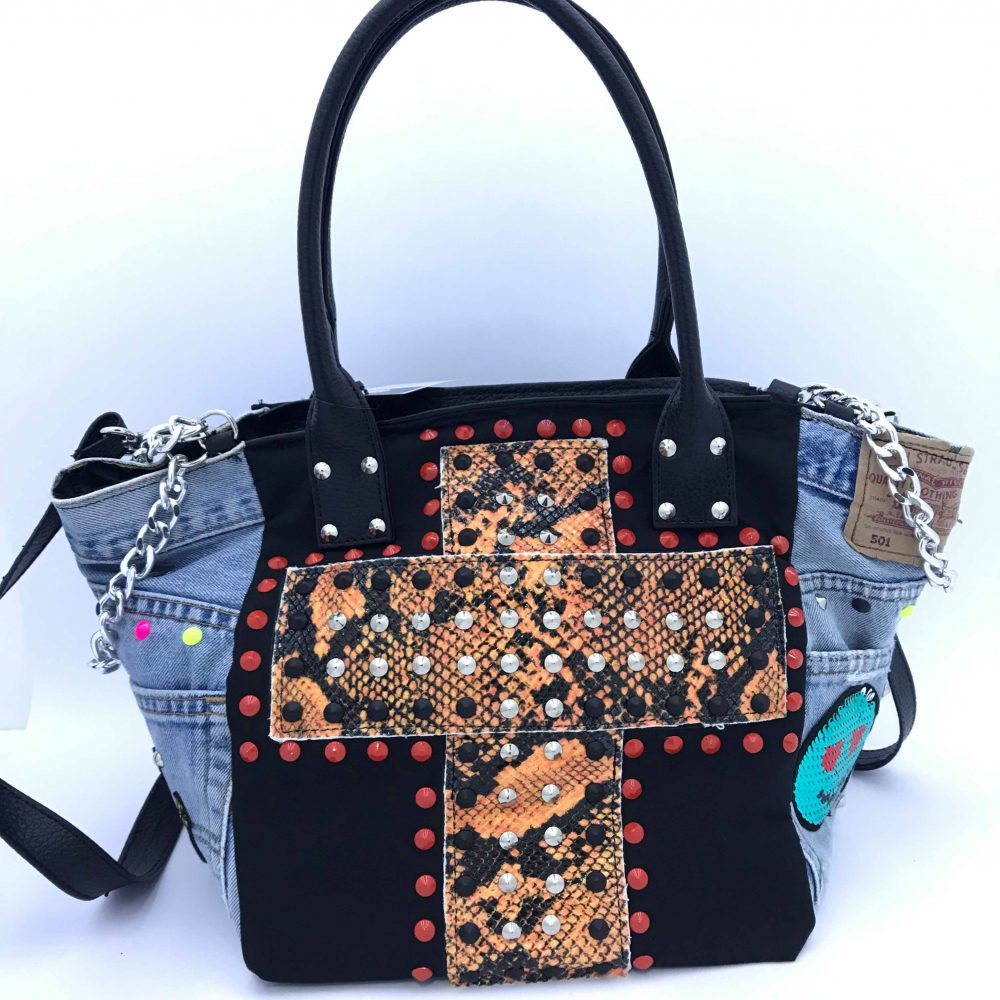 GAGLIOTTA BAG PATCH NERO/ANIMALIER ARANCIO