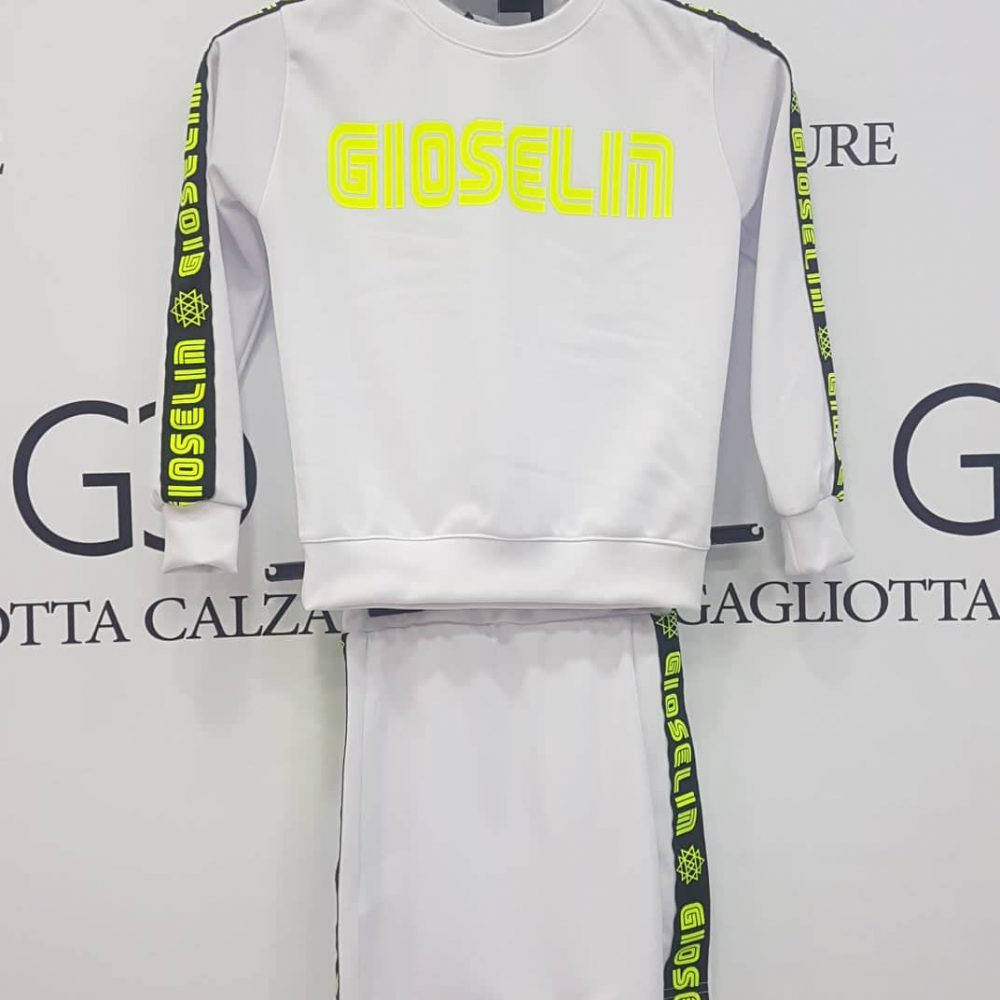 GIOSELIN CASUAL COMPLETO GONNA BIANCO/GIALLO BABY