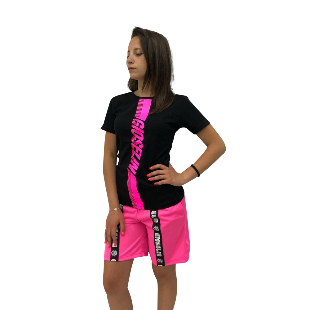 GIOSELIN T-SHIRT TRAINING NERO/FUXIA